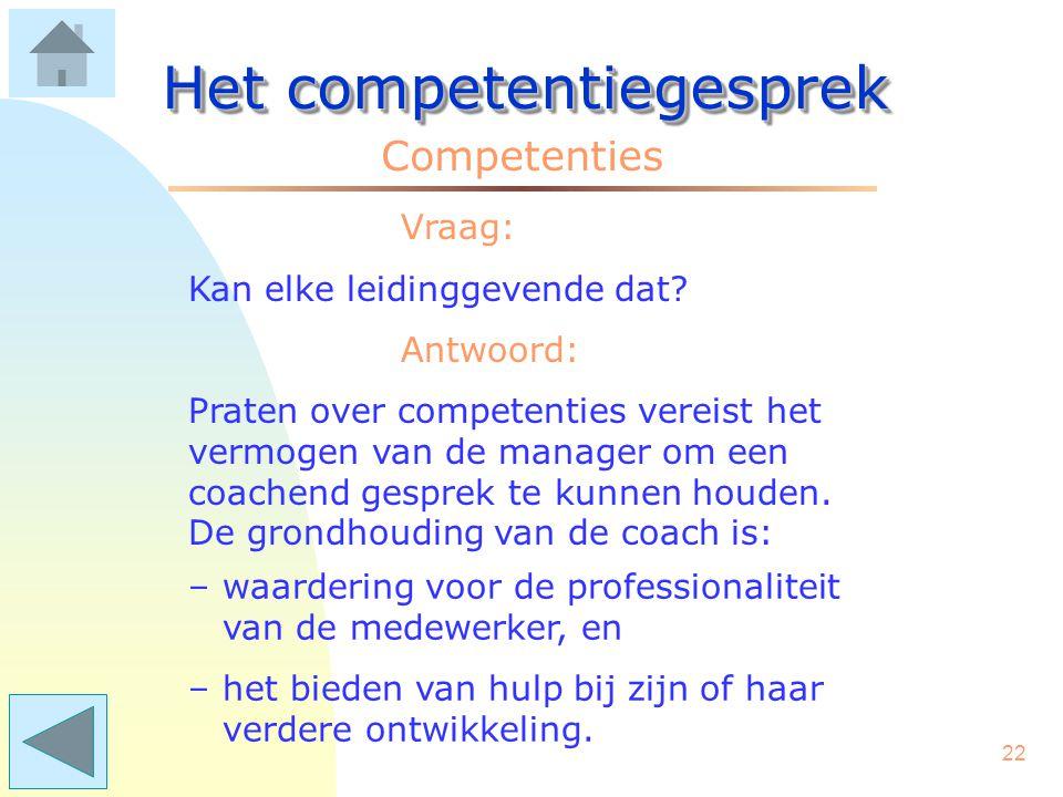 21 Het competentiegesprek Competenties Vraag: Is dat niet wat hoog gegrepen? Antwoord: Welnee! Een goed competentiegesprek is vergelijkbaar met een pe