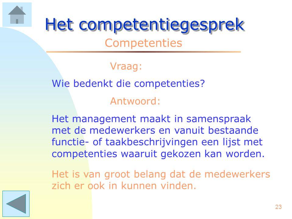 22 Het competentiegesprek Competenties Vraag: Kan elke leidinggevende dat? Antwoord: Praten over competenties vereist het vermogen van de manager om e