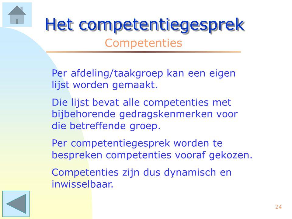23 Het competentiegesprek Competenties Vraag: Wie bedenkt die competenties? Antwoord: Het management maakt in samenspraak met de medewerkers en vanuit