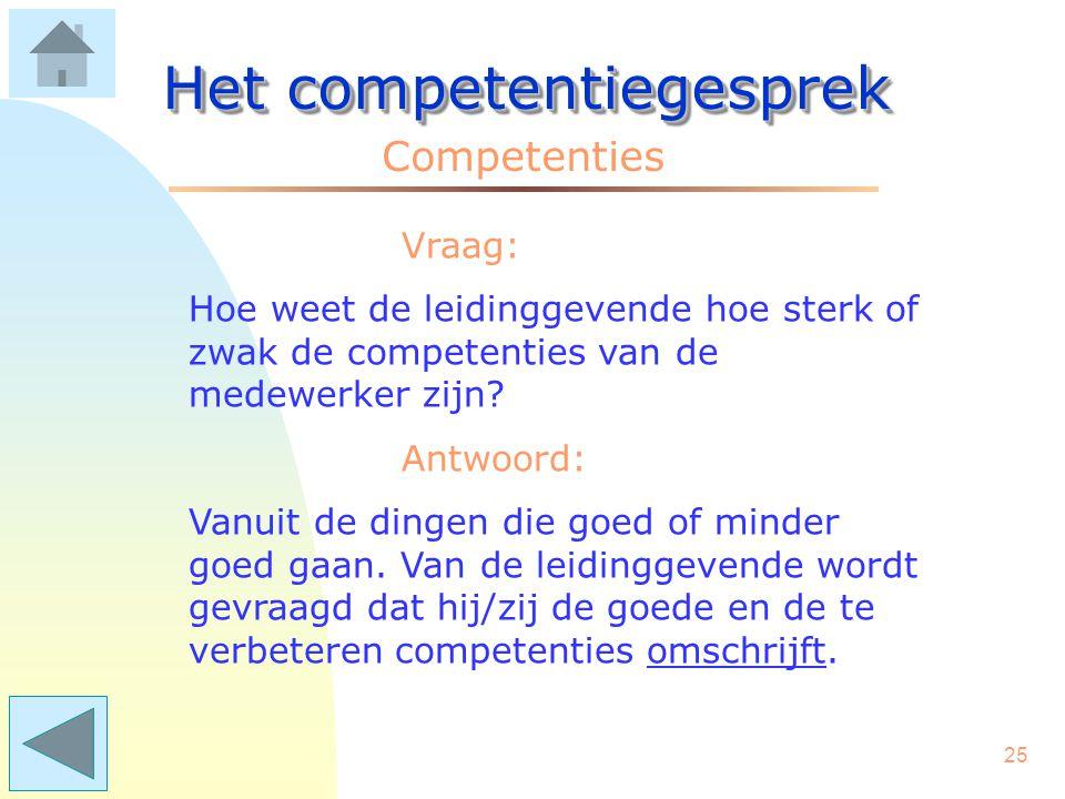 24 Het competentiegesprek Competenties Per afdeling/taakgroep kan een eigen lijst worden gemaakt. Die lijst bevat alle competenties met bijbehorende g