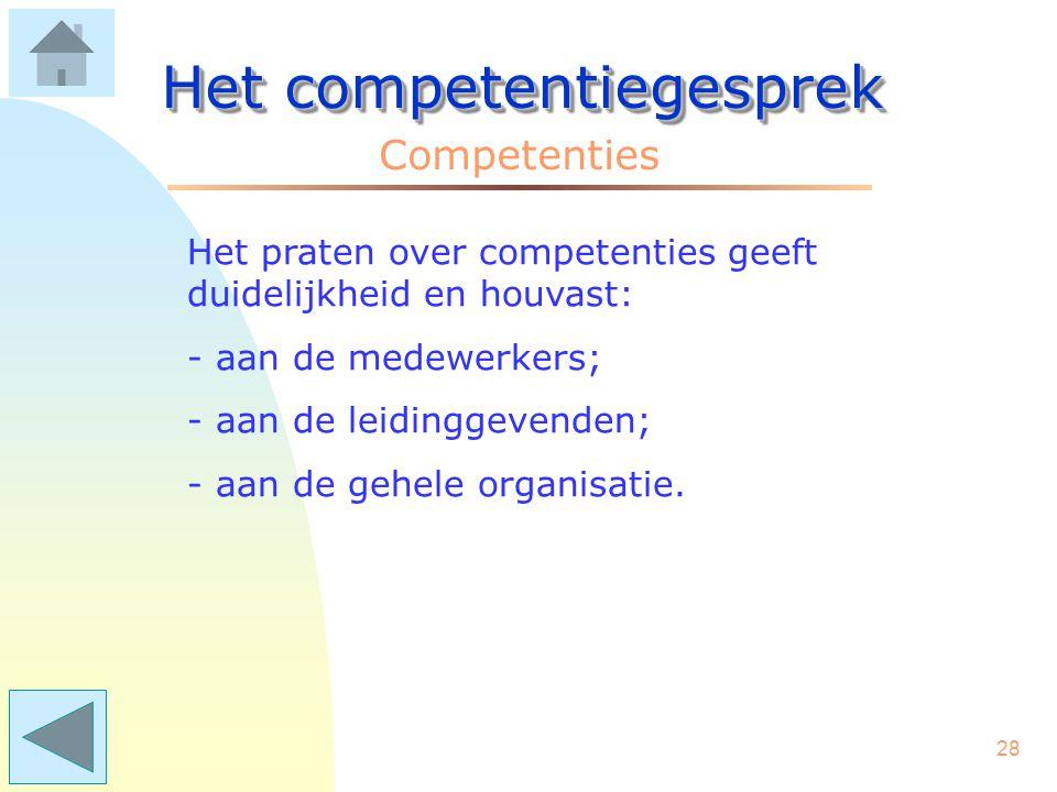27 Het competentiegesprek Competenties Vraag: Hoe weet de medewerker hoe sterk of zwak zijn/haar competenties zijn? Antwoord: Ook vanuit de dingen die