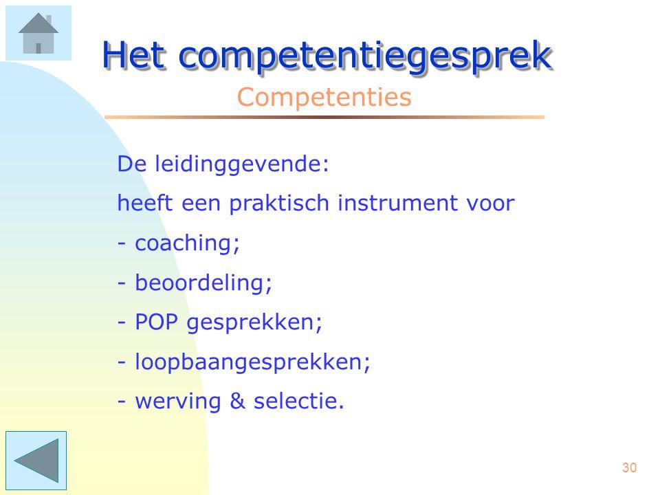 29 Het competentiegesprek Competenties De medewerker: –weet wat er op uitvoerend niveau van hem/haar wordt gevraagd; –kent z'n zwakke plekken, maar oo