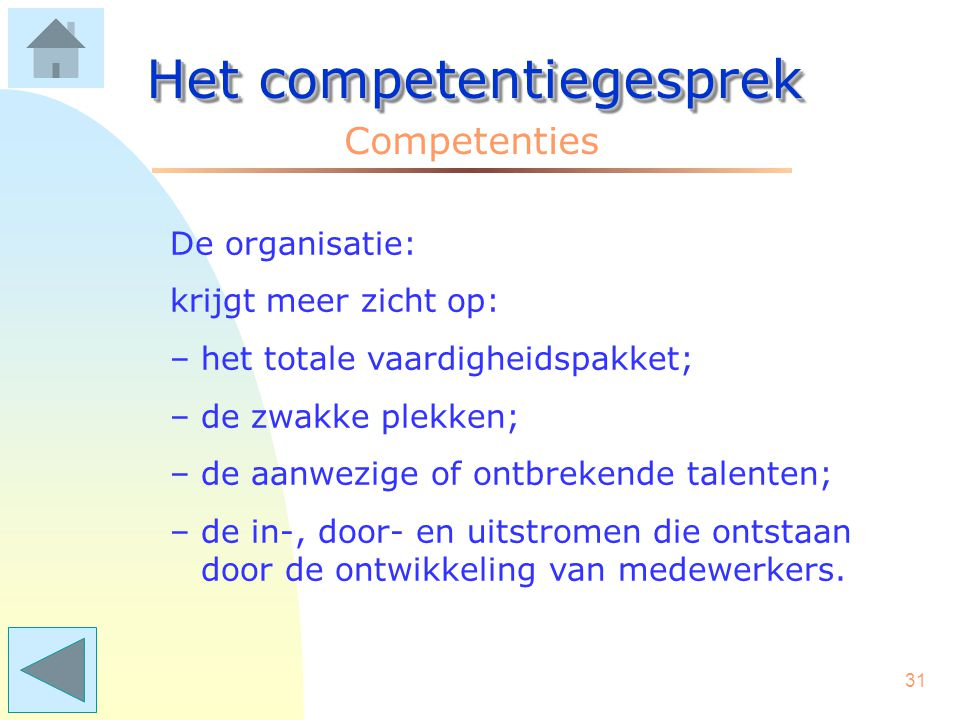30 Het competentiegesprek Competenties De leidinggevende: heeft een praktisch instrument voor - coaching; - beoordeling; - POP gesprekken; - loopbaangesprekken; - werving & selectie.
