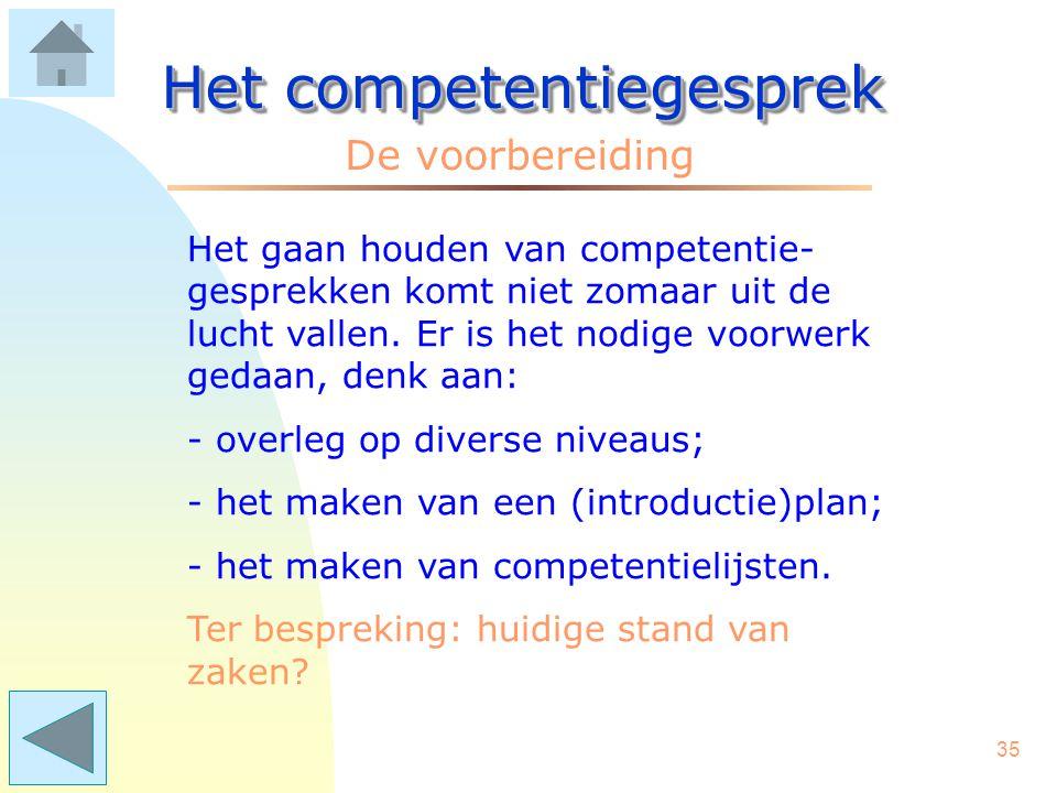 """34 Het competentiegesprek Het gesprek Het competentiegesprek (CG) vraagt om voorbereiding. Het gesprek zelf bevat 3 stappen. Klik op """"De voorbereiding"""