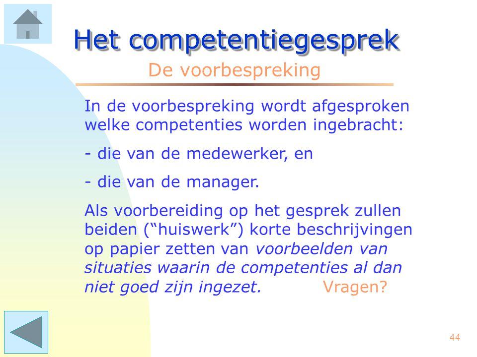 43 Het competentiegesprek Einde van De voorbereiding Als u doorklikt, komt u in het hoofdstuk De voorbespreking .