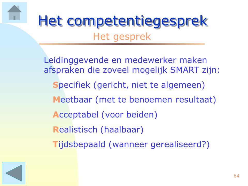 53 Het competentiegesprek Aanbevelingen vooraf: Het geeft duidelijkheid als de leiding- gevende even de gesprekslijn aangeeft: - we bespreken eerst jo