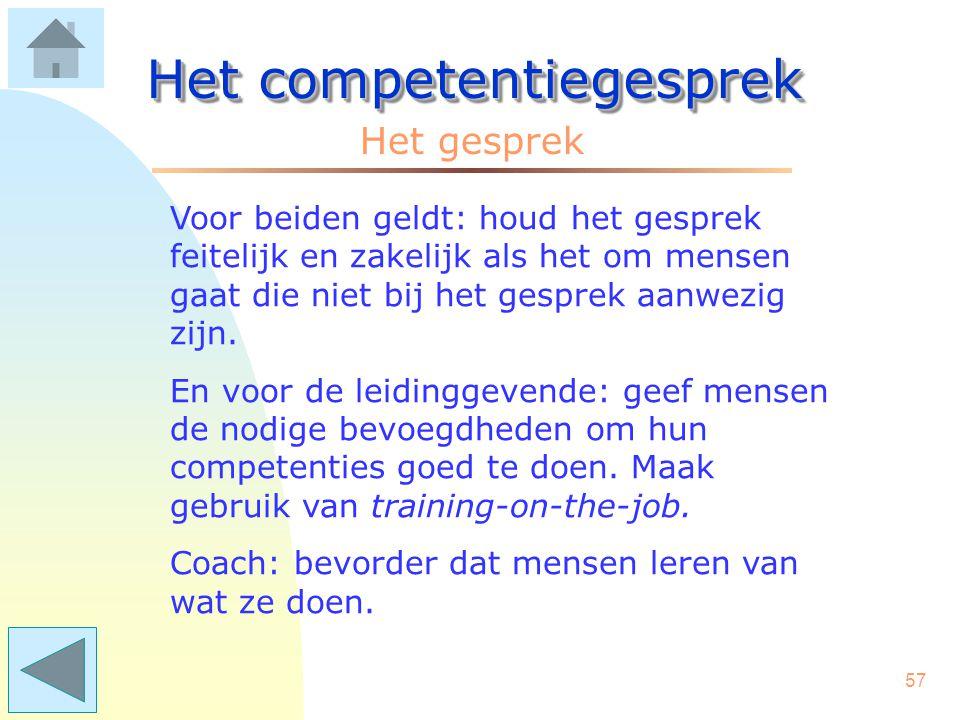 56 Het competentiegesprek Zwakke punten kunnen in een nieuwe of andere competentie worden omgezet, als die op de lijst voorkomt. Bedenk dat competenti