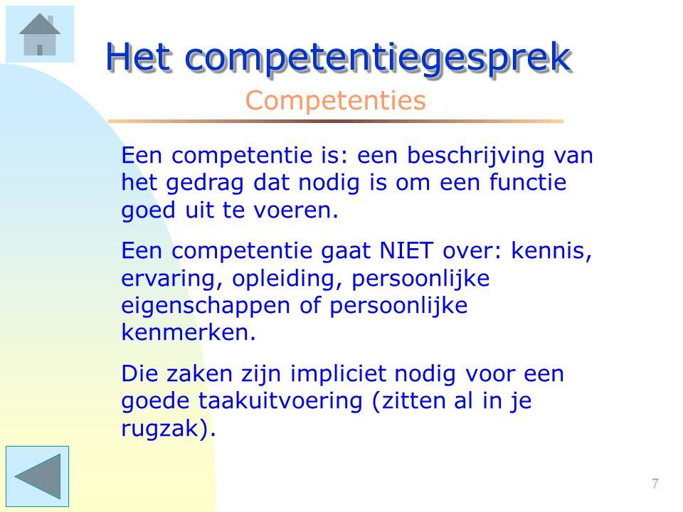107 Het competentiegesprek Voorbeelden van competenties Netwerkvaardigheid –het opbouwen van contacten met relevante personen –samenwerkingsverbanden benutten –het vormen van allianties / coalities.