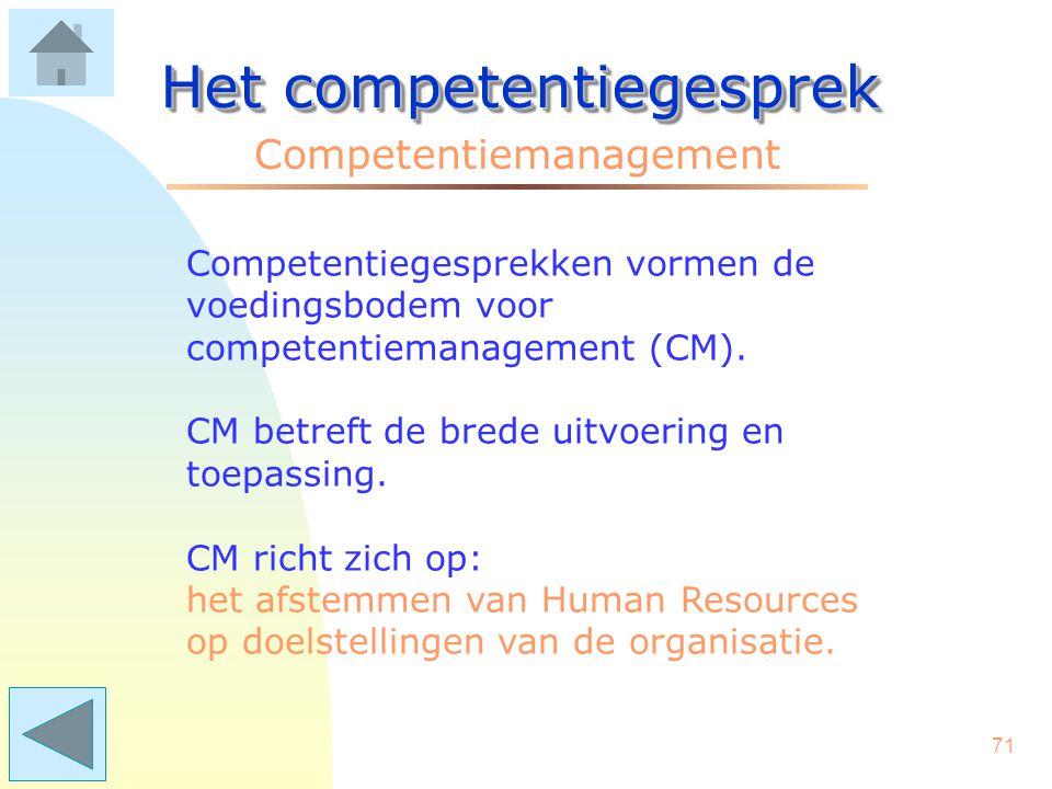70 Het competentiegesprek Het gesprek Einde van De afronding .