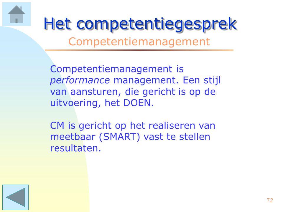 71 Het competentiegesprek Competentiemanagement Competentiegesprekken vormen de voedingsbodem voor competentiemanagement (CM). CM betreft de brede uit