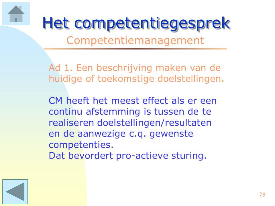 75 Het competentiegesprek Competentiemanagement Een plan van aanpak kan zijn: 1. Een beschrijving maken van de huidige of toekomstige doelstellingen;