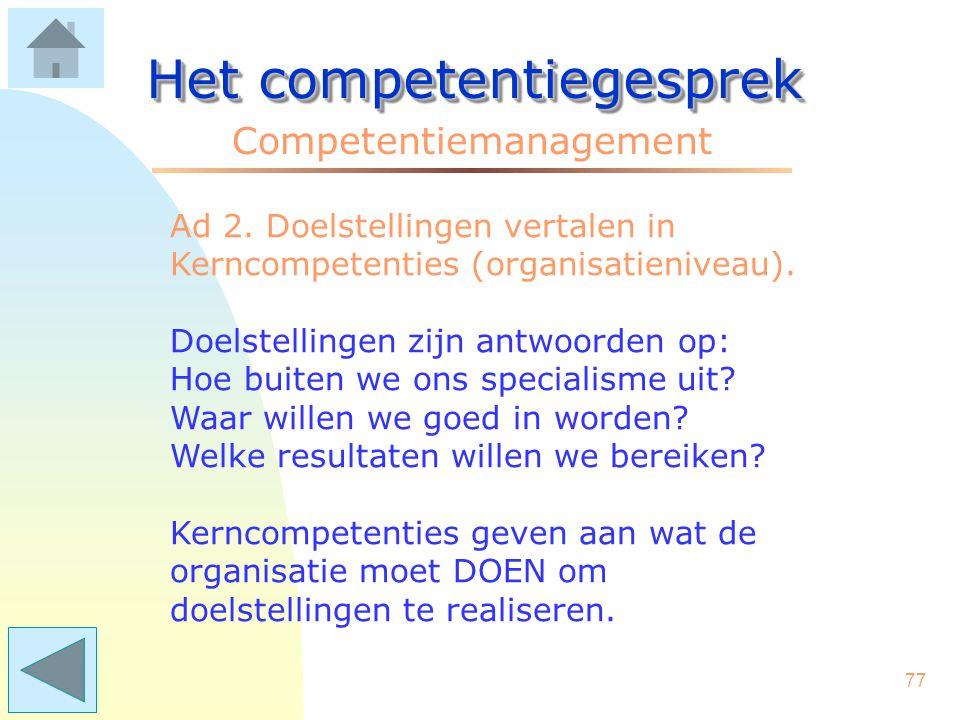 76 Het competentiegesprek Competentiemanagement Ad 1. Een beschrijving maken van de huidige of toekomstige doelstellingen. CM heeft het meest effect a