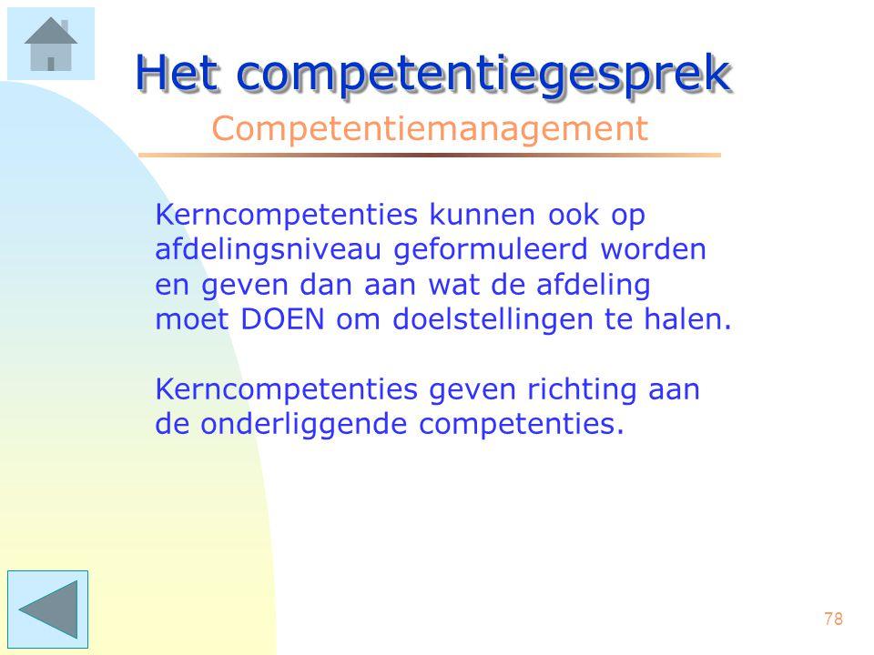 77 Het competentiegesprek Competentiemanagement Ad 2. Doelstellingen vertalen in Kerncompetenties (organisatieniveau). Doelstellingen zijn antwoorden