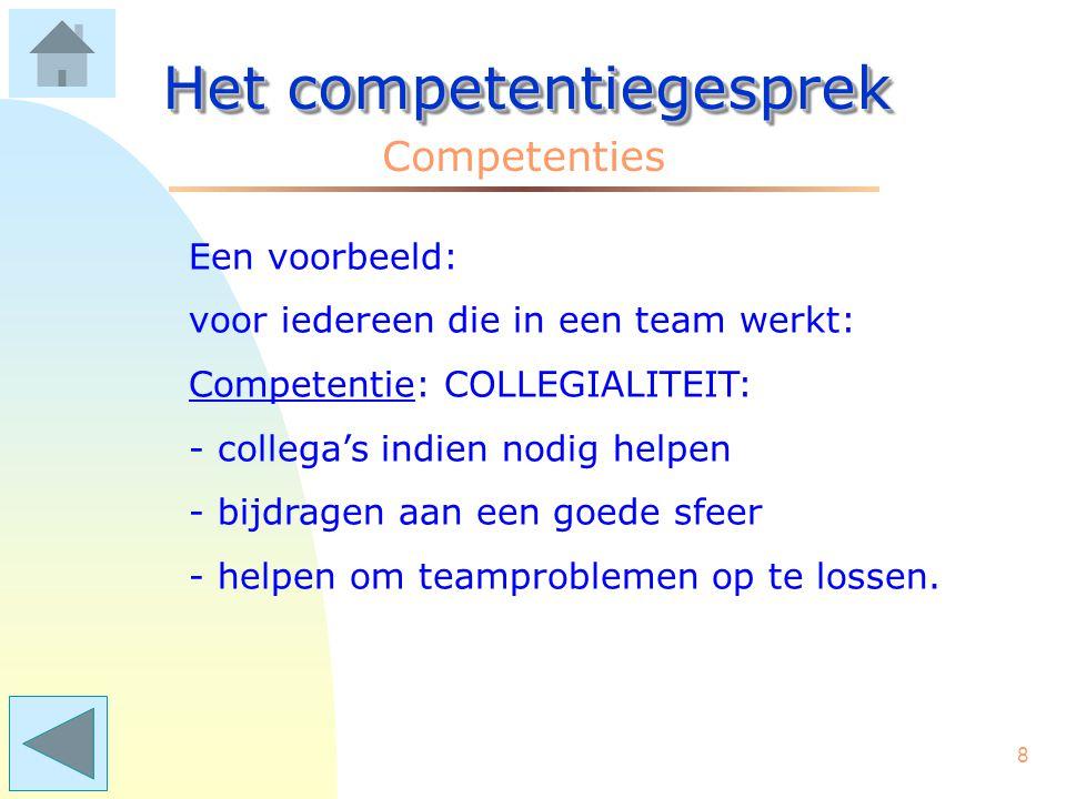 8 Het competentiegesprek Competenties Een voorbeeld: voor iedereen die in een team werkt: Competentie: COLLEGIALITEIT: - collega's indien nodig helpen - bijdragen aan een goede sfeer - helpen om teamproblemen op te lossen.
