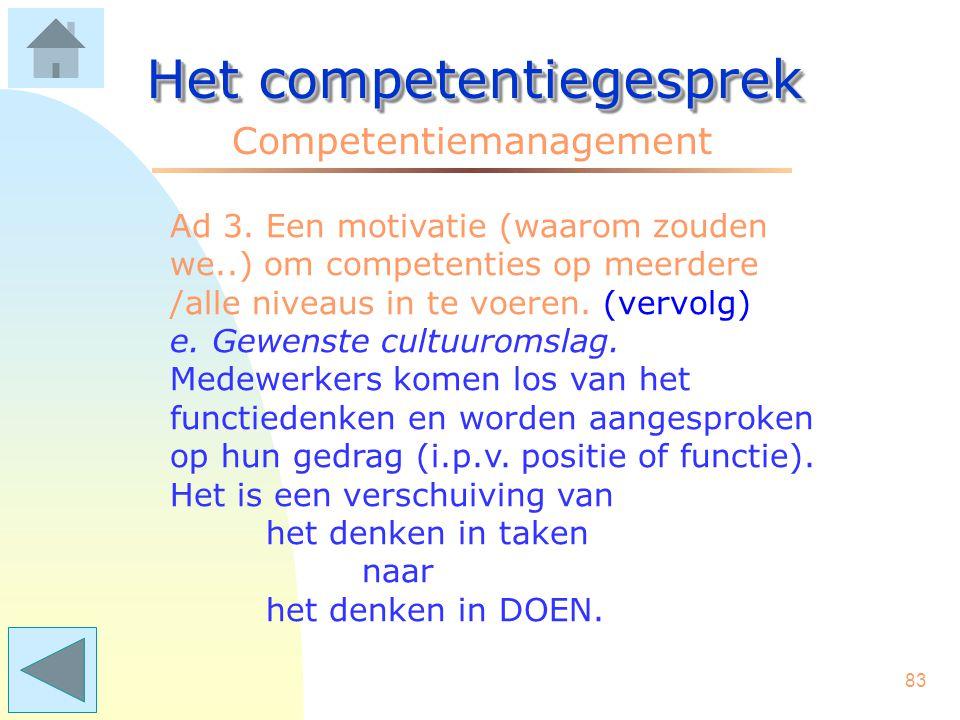 82 Het competentiegesprek Competentiemanagement Ad 3. Een motivatie (waarom zouden we..) om competenties op meerdere /alle niveaus in te voeren. (verv