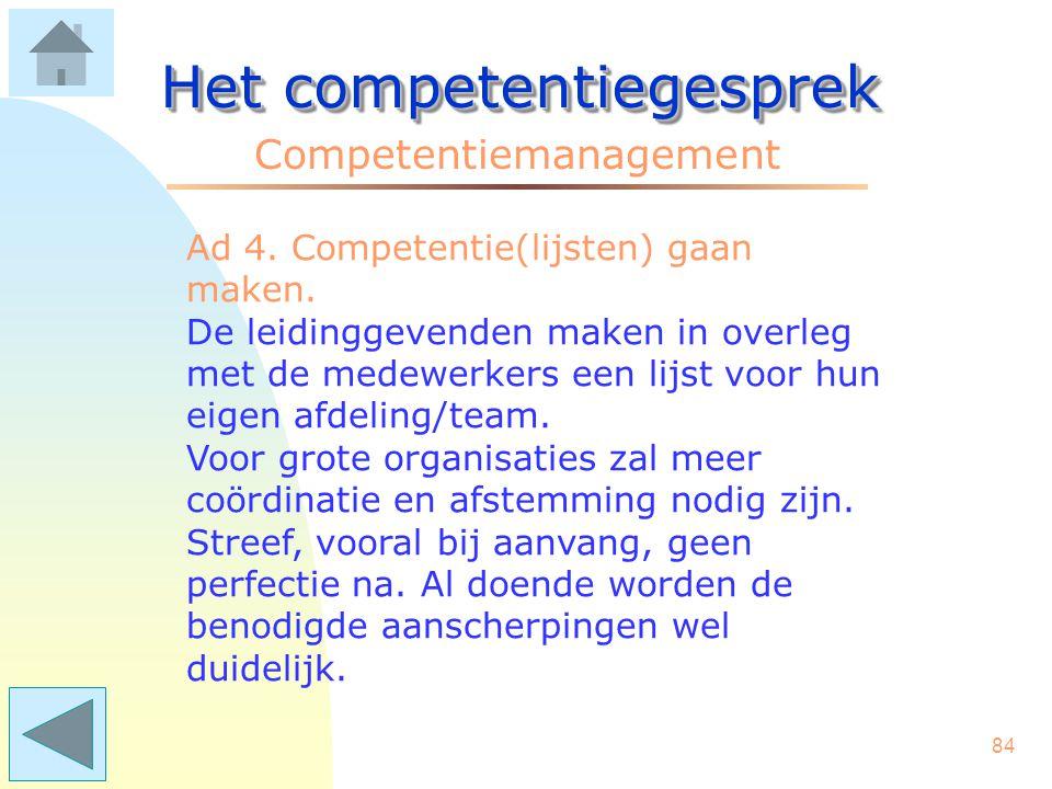 83 Het competentiegesprek Competentiemanagement Ad 3. Een motivatie (waarom zouden we..) om competenties op meerdere /alle niveaus in te voeren. (verv
