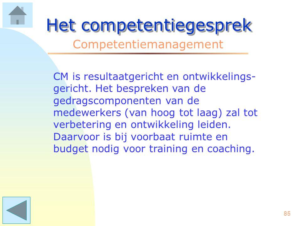 84 Het competentiegesprek Competentiemanagement Ad 4. Competentie(lijsten) gaan maken. De leidinggevenden maken in overleg met de medewerkers een lijs