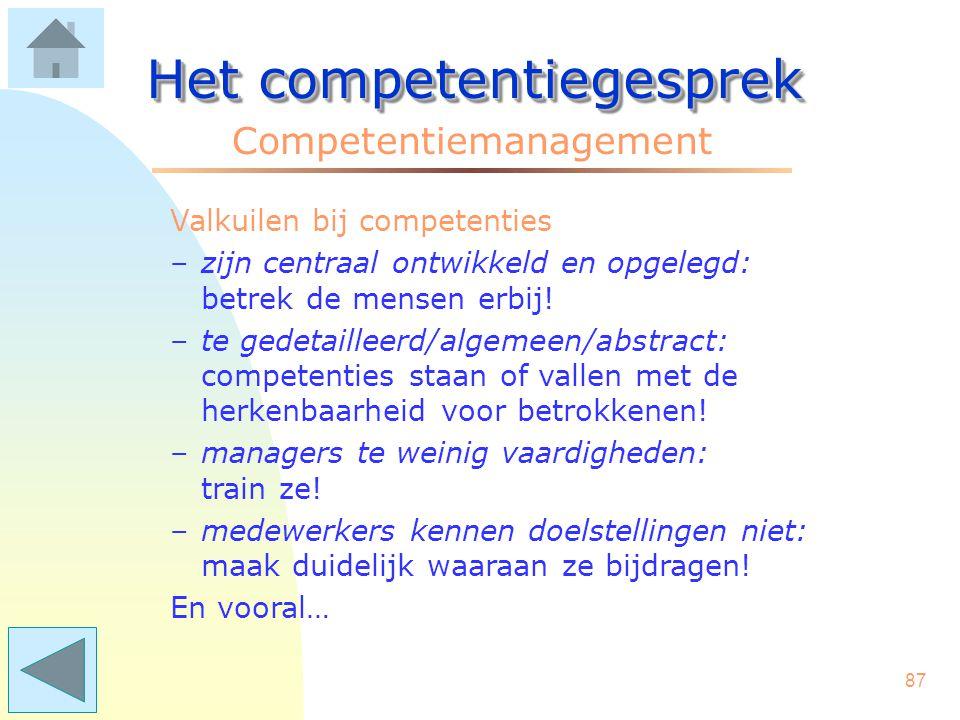 86 Het competentiegesprek Competentiemanagement De aanpak tot invoering zal per organisatie verschillen. Aanbevelingen: –begin experimenteel met een e