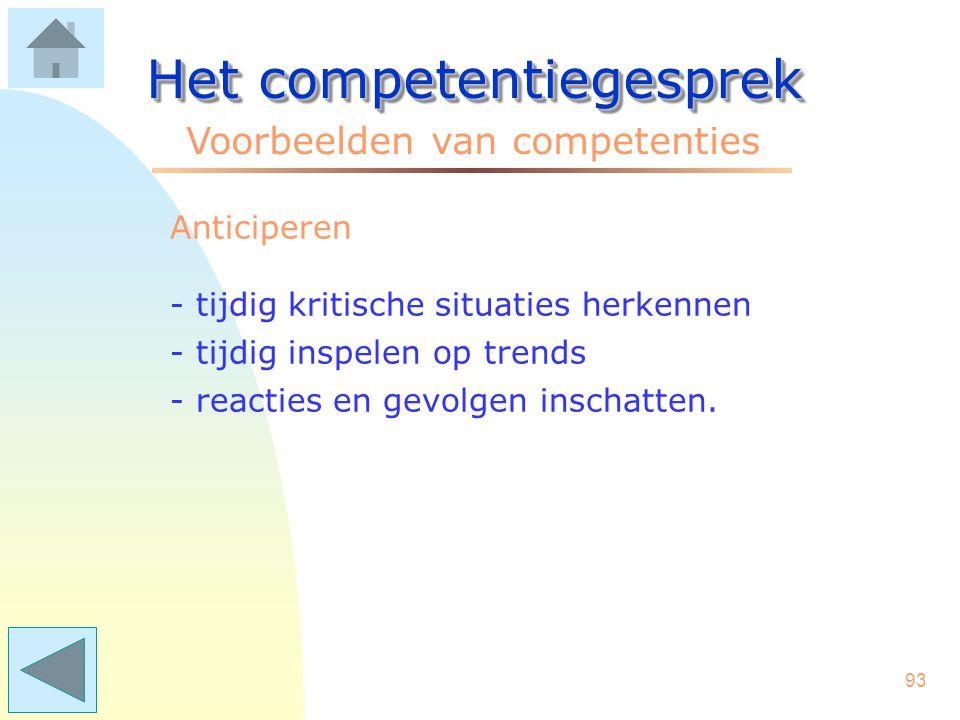92 Het competentiegesprek Voorbeelden van competenties Accuratesse –langdurig en geconcentreerd omgaan met details –hoofd- en bijzaken scheiden –een g