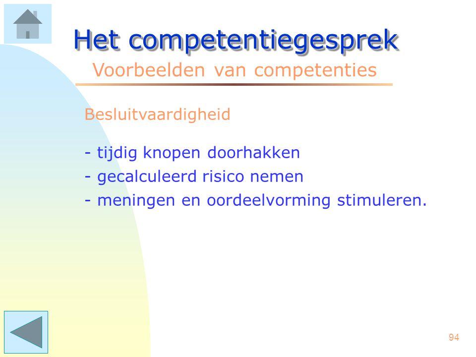 93 Het competentiegesprek Voorbeelden van competenties Anticiperen - tijdig kritische situaties herkennen - tijdig inspelen op trends - reacties en gevolgen inschatten.