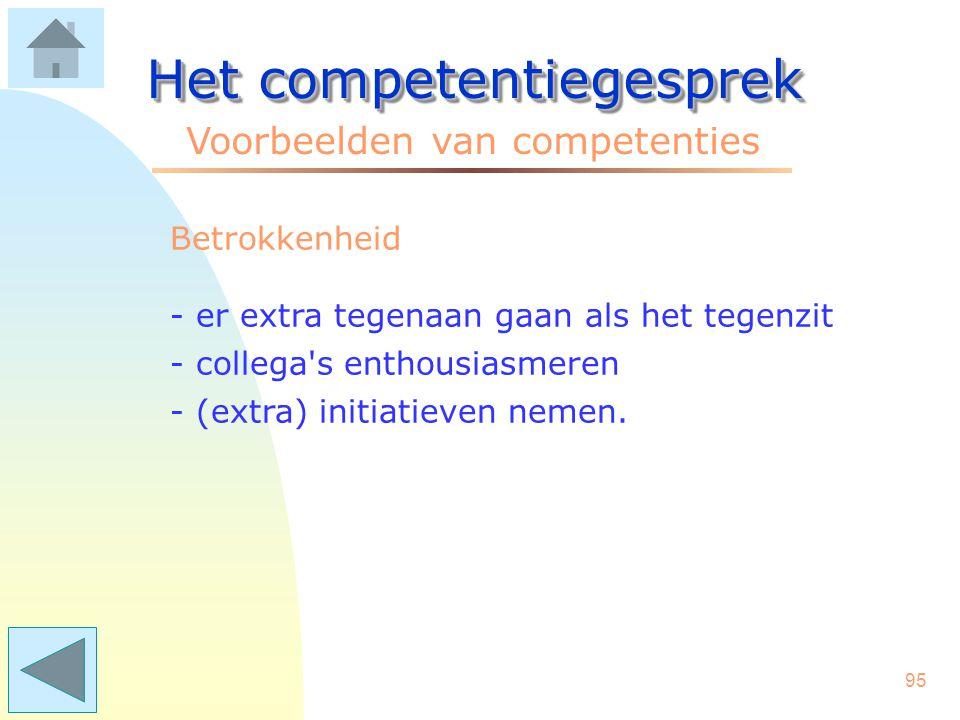 94 Het competentiegesprek Voorbeelden van competenties Besluitvaardigheid - tijdig knopen doorhakken - gecalculeerd risico nemen - meningen en oordeelvorming stimuleren.