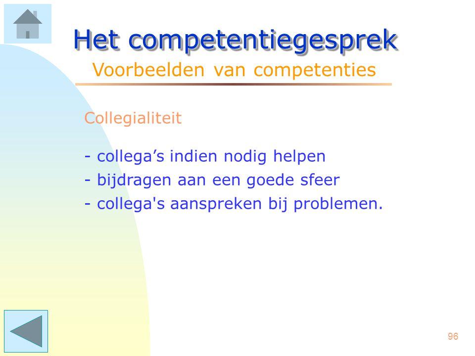 95 Het competentiegesprek Voorbeelden van competenties Betrokkenheid - er extra tegenaan gaan als het tegenzit - collega's enthousiasmeren - (extra) i