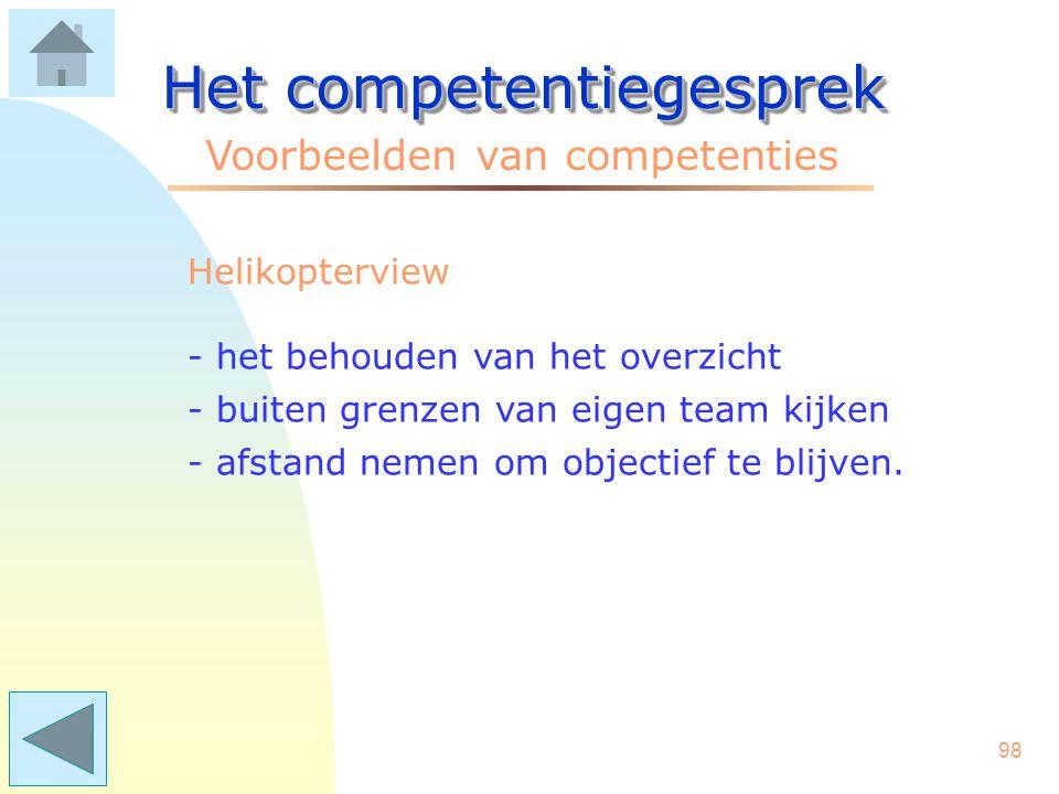97 Het competentiegesprek Voorbeelden van competenties Creativiteit - het loslaten van bestaande denkkaders - innovatief functioneren - originele oplossingen vinden.