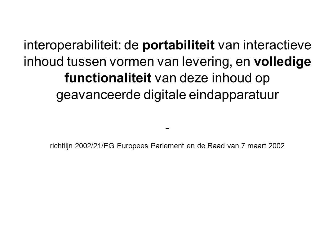 interoperabiliteit: de portabiliteit van interactieve inhoud tussen vormen van levering, en volledige functionaliteit van deze inhoud op geavanceerde digitale eindapparatuur - richtlijn 2002/21/EG Europees Parlement en de Raad van 7 maart 2002 