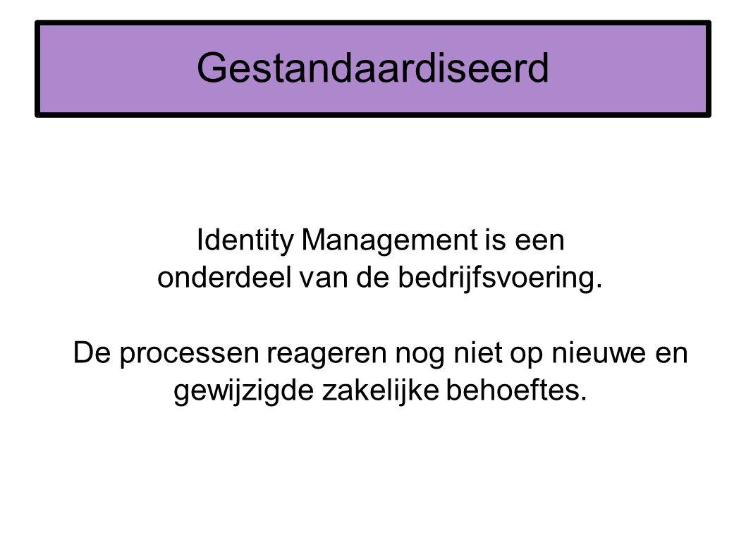 Gestandaardiseerd Identity Management is een onderdeel van de bedrijfsvoering. De processen reageren nog niet op nieuwe en gewijzigde zakelijke behoef