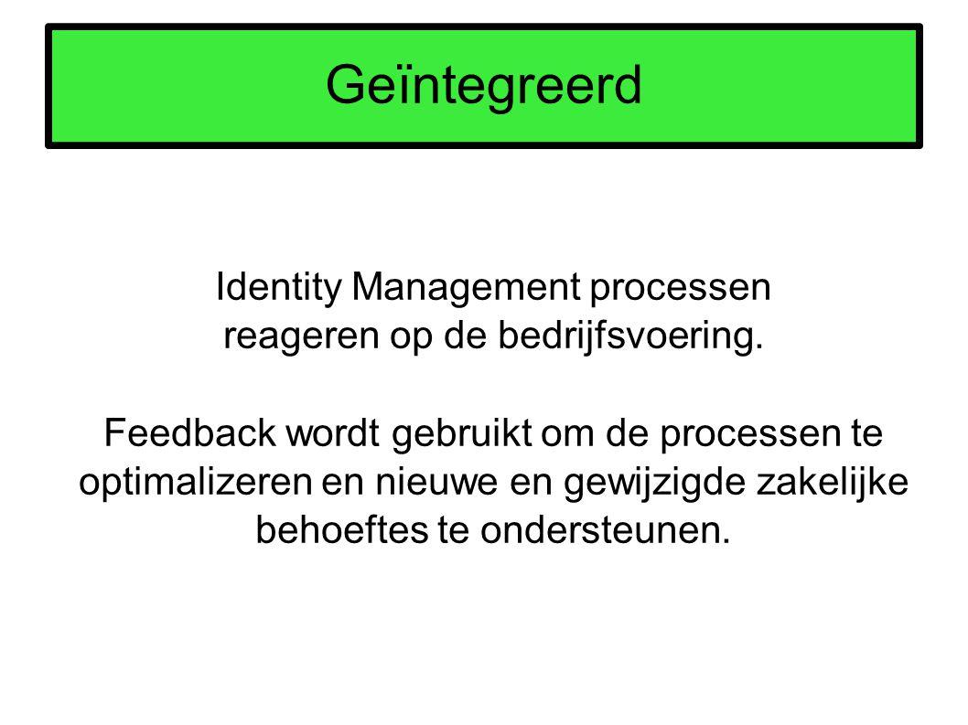 Geïntegreerd Identity Management processen reageren op de bedrijfsvoering. Feedback wordt gebruikt om de processen te optimalizeren en nieuwe en gewij