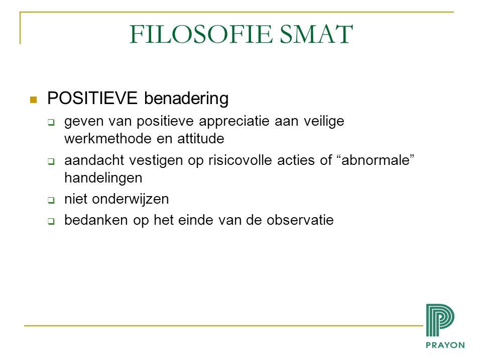 FILOSOFIE SMAT POSITIEVE benadering  geven van positieve appreciatie aan veilige werkmethode en attitude  aandacht vestigen op risicovolle acties of