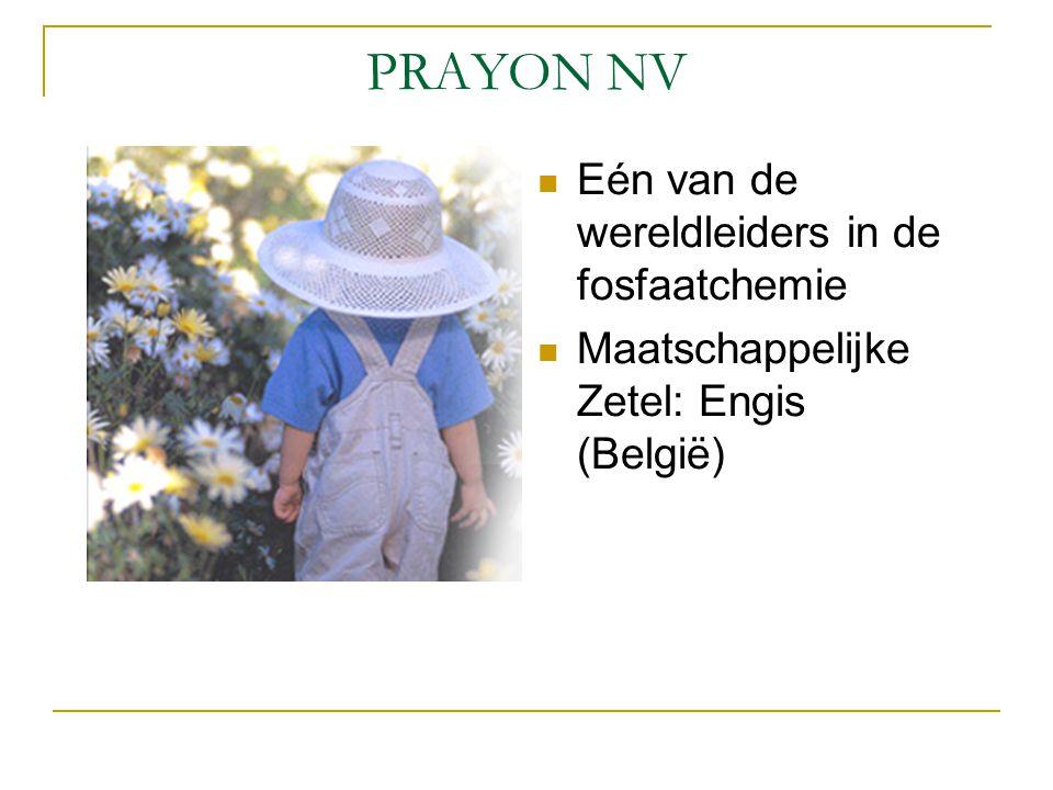 PRAYON NV Eén van de wereldleiders in de fosfaatchemie Maatschappelijke Zetel: Engis (België)