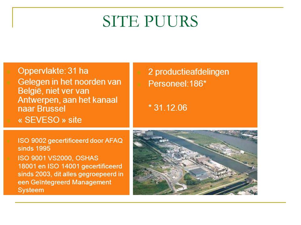 SITE PUURS Oppervlakte: 31 ha Gelegen in het noorden van België, niet ver van Antwerpen, aan het kanaal naar Brussel « SEVESO » site ISO 9002 gecertif