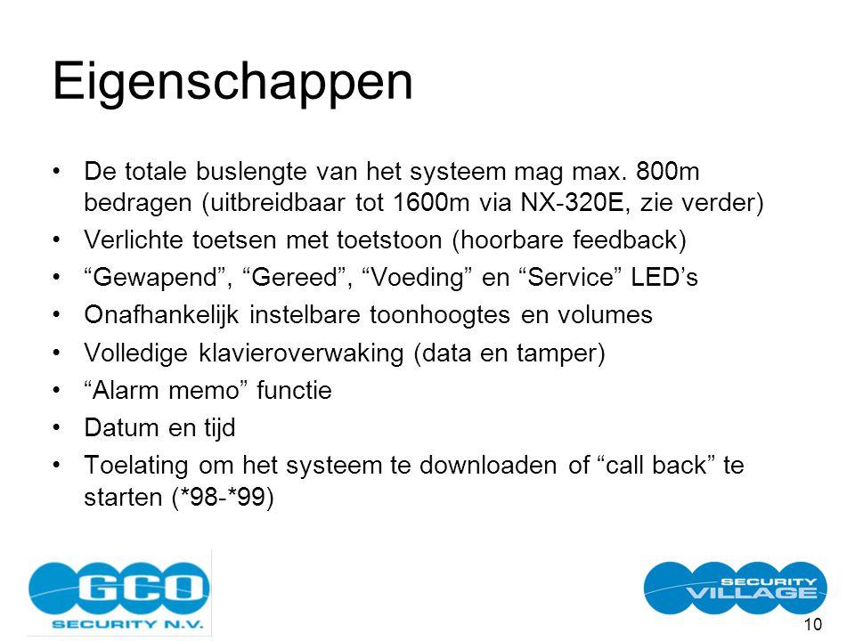 10 Eigenschappen De totale buslengte van het systeem mag max.