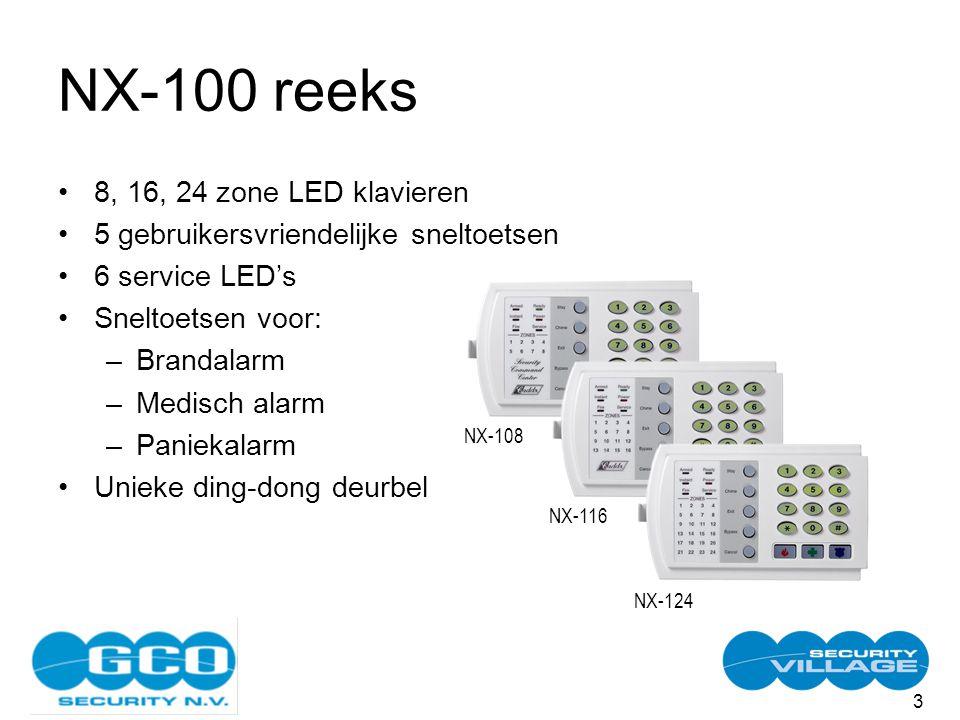 3 NX-100 reeks 8, 16, 24 zone LED klavieren 5 gebruikersvriendelijke sneltoetsen 6 service LED's Sneltoetsen voor: –Brandalarm –Medisch alarm –Paniekalarm Unieke ding-dong deurbel NX-108 NX-116 NX-124