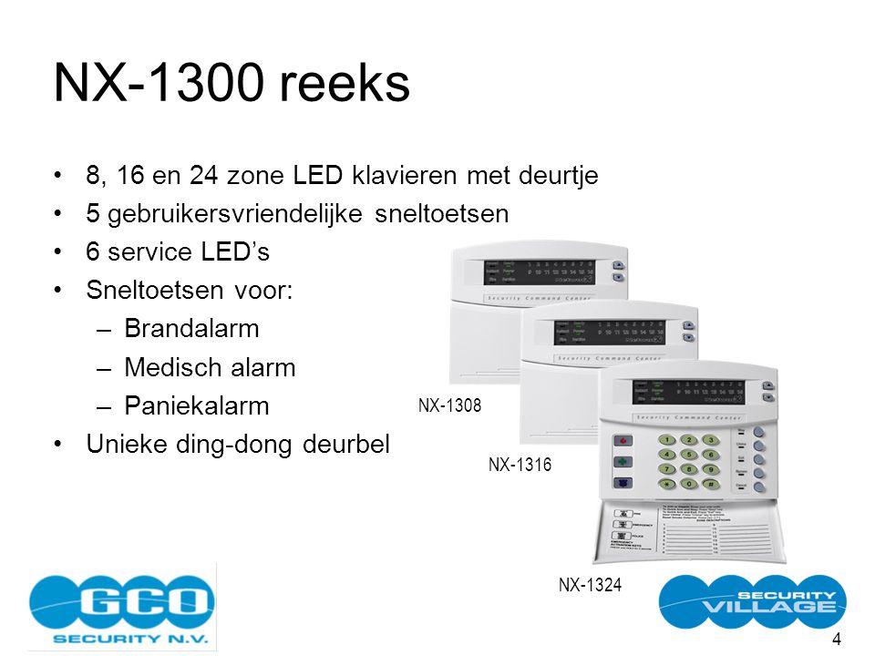 4 NX-1300 reeks 8, 16 en 24 zone LED klavieren met deurtje 5 gebruikersvriendelijke sneltoetsen 6 service LED's Sneltoetsen voor: –Brandalarm –Medisch alarm –Paniekalarm Unieke ding-dong deurbel NX-1308NX-1316 NX-1324
