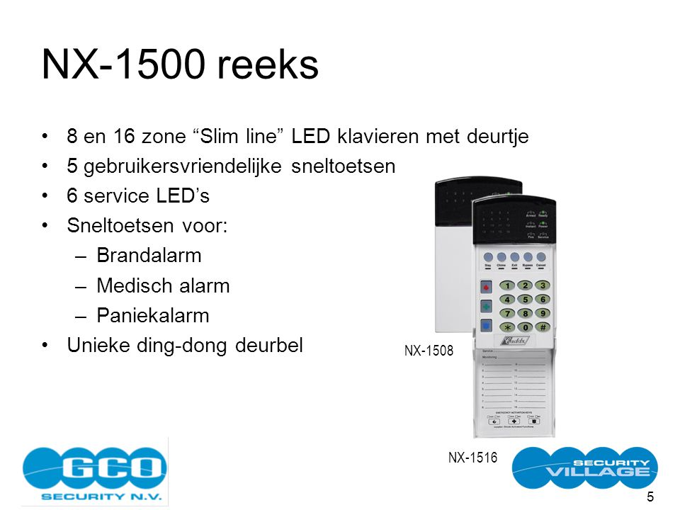 5 NX-1500 reeks 8 en 16 zone Slim line LED klavieren met deurtje 5 gebruikersvriendelijke sneltoetsen 6 service LED's Sneltoetsen voor: –Brandalarm –Medisch alarm –Paniekalarm Unieke ding-dong deurbel NX-1508 NX-1516