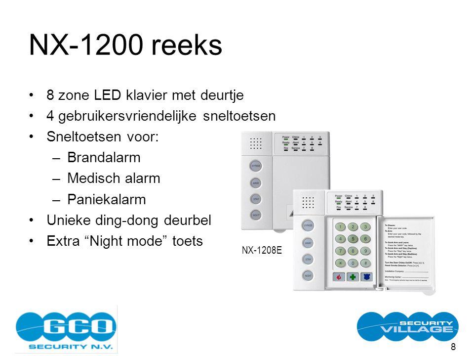 8 NX-1200 reeks 8 zone LED klavier met deurtje 4 gebruikersvriendelijke sneltoetsen Sneltoetsen voor: –Brandalarm –Medisch alarm –Paniekalarm Unieke ding-dong deurbel Extra Night mode toets NX-1208E