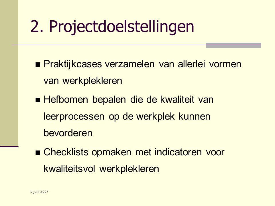 5 juni 2007 Praktijkcases verzamelen van allerlei vormen van werkplekleren Hefbomen bepalen die de kwaliteit van leerprocessen op de werkplek kunnen b
