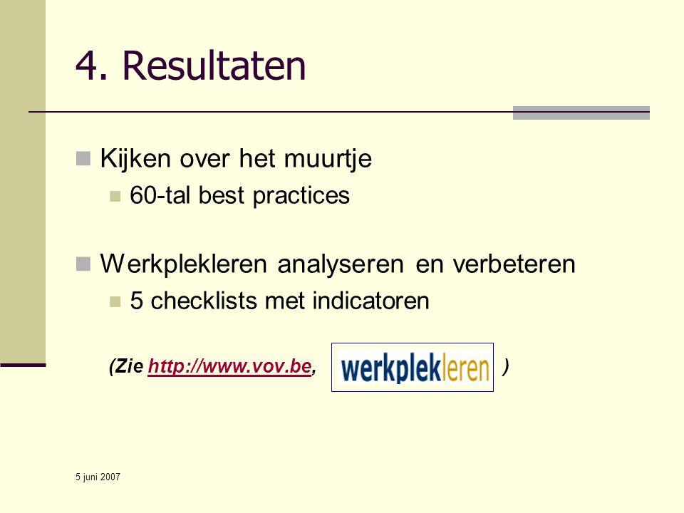 5 juni 2007 4. Resultaten Kijken over het muurtje 60-tal best practices Werkplekleren analyseren en verbeteren 5 checklists met indicatoren (Zie http: