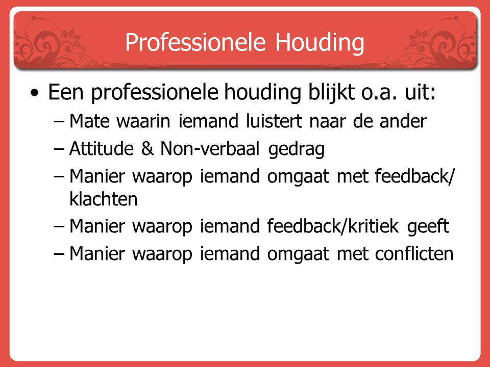 Professionele Houding Een professionele houding blijkt o.a. uit: –Mate waarin iemand luistert naar de ander –Attitude & Non-verbaal gedrag –Manier waa