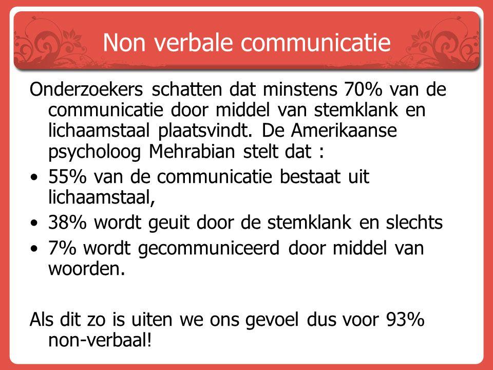 Non verbale communicatie Onderzoekers schatten dat minstens 70% van de communicatie door middel van stemklank en lichaamstaal plaatsvindt. De Amerikaa