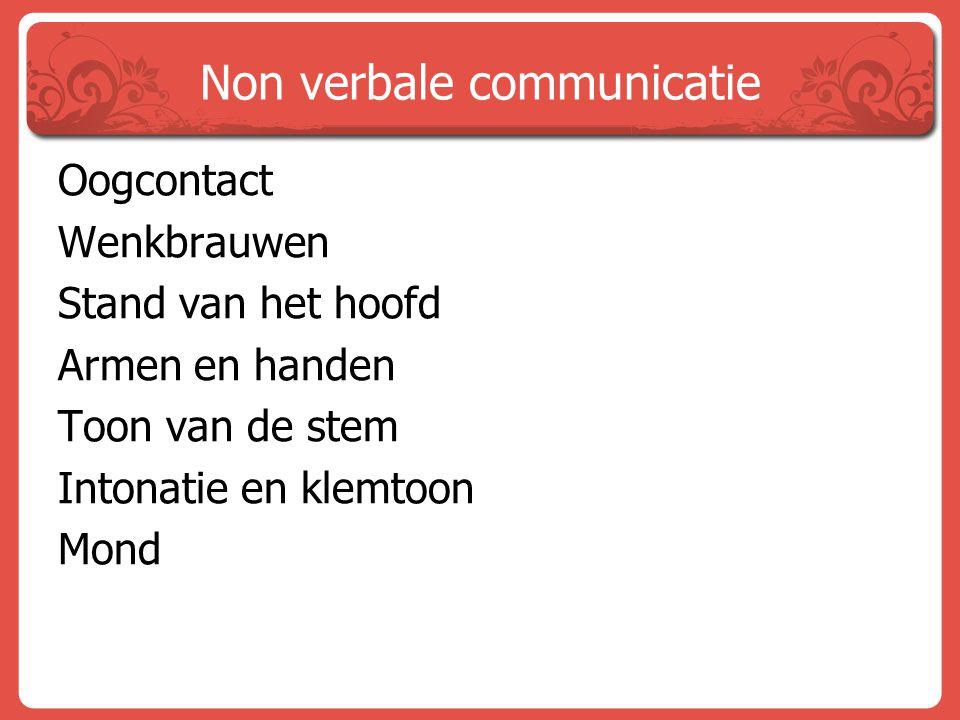 Non verbale communicatie Oogcontact Wenkbrauwen Stand van het hoofd Armen en handen Toon van de stem Intonatie en klemtoon Mond