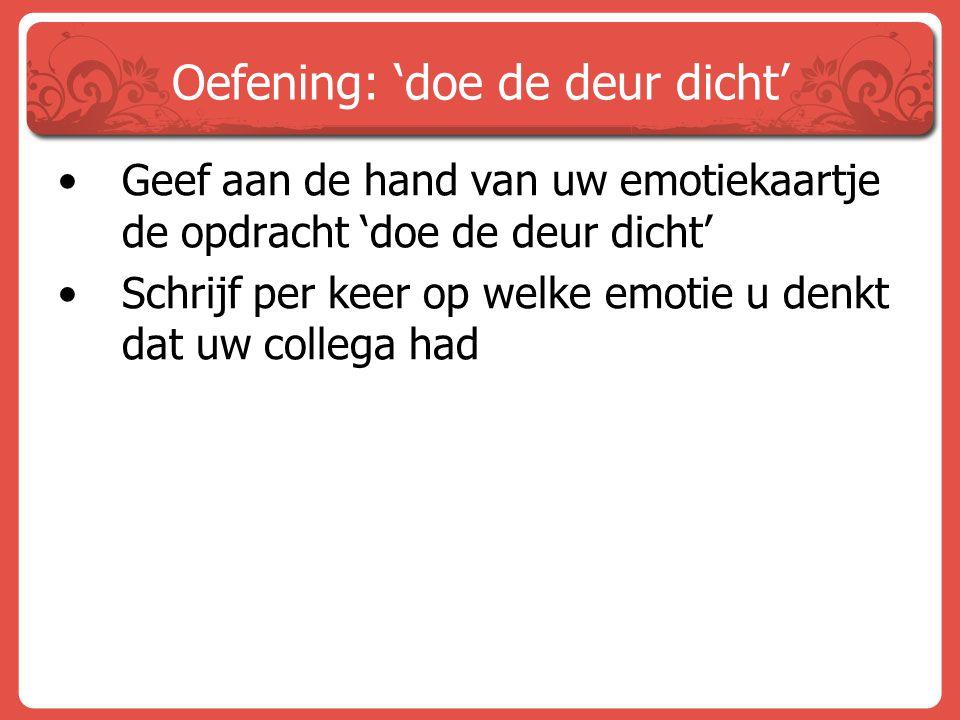Oefening: 'doe de deur dicht' Geef aan de hand van uw emotiekaartje de opdracht 'doe de deur dicht' Schrijf per keer op welke emotie u denkt dat uw co