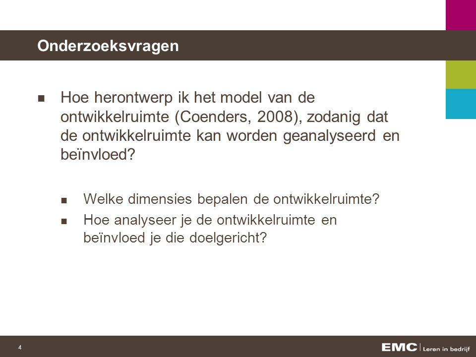4 Onderzoeksvragen Hoe herontwerp ik het model van de ontwikkelruimte (Coenders, 2008), zodanig dat de ontwikkelruimte kan worden geanalyseerd en beïnvloed.