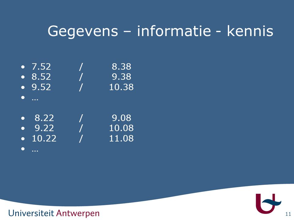 11 Gegevens – informatie - kennis 7.52/ 8.38 8.52/ 9.38 9.52/10.38 … 8.22/ 9.08 9.22/10.08 10.22/11.08 …