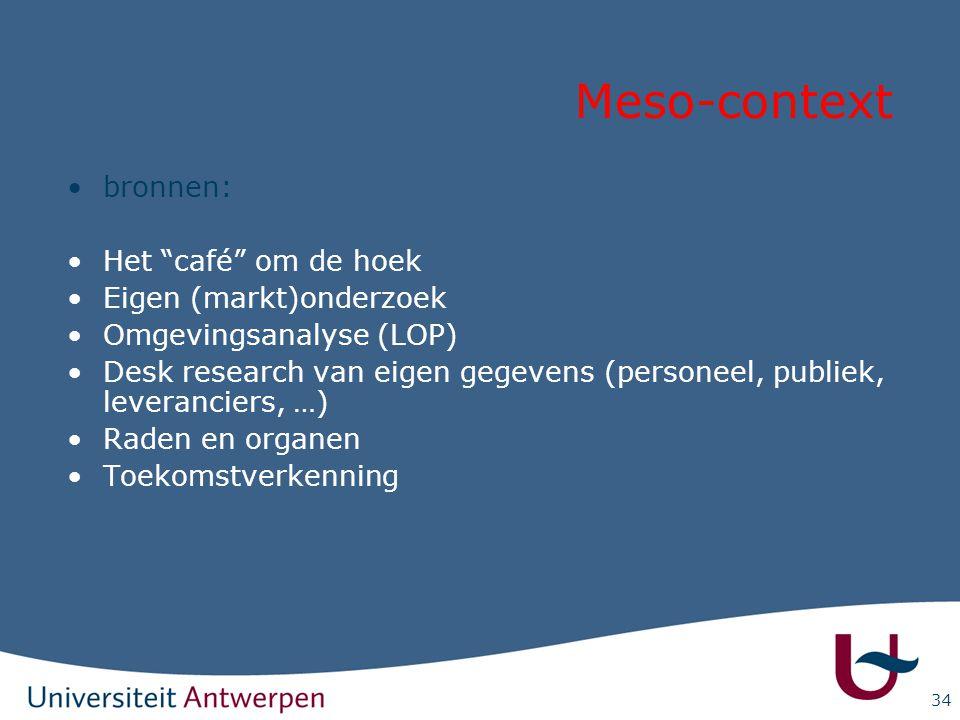 """34 Meso-context bronnen: Het """"café"""" om de hoek Eigen (markt)onderzoek Omgevingsanalyse (LOP) Desk research van eigen gegevens (personeel, publiek, lev"""
