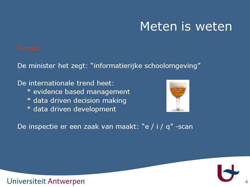 """4 Meten is weten Omdat De minister het zegt: """"informatierijke schoolomgeving"""" De internationale trend heet: * evidence based management * data driven"""