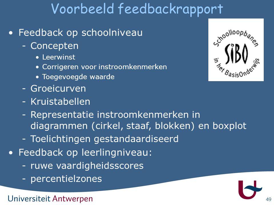 49 Voorbeeld feedbackrapport Feedback op schoolniveau -Concepten Leerwinst Corrigeren voor instroomkenmerken Toegevoegde waarde -Groeicurven -Kruistab