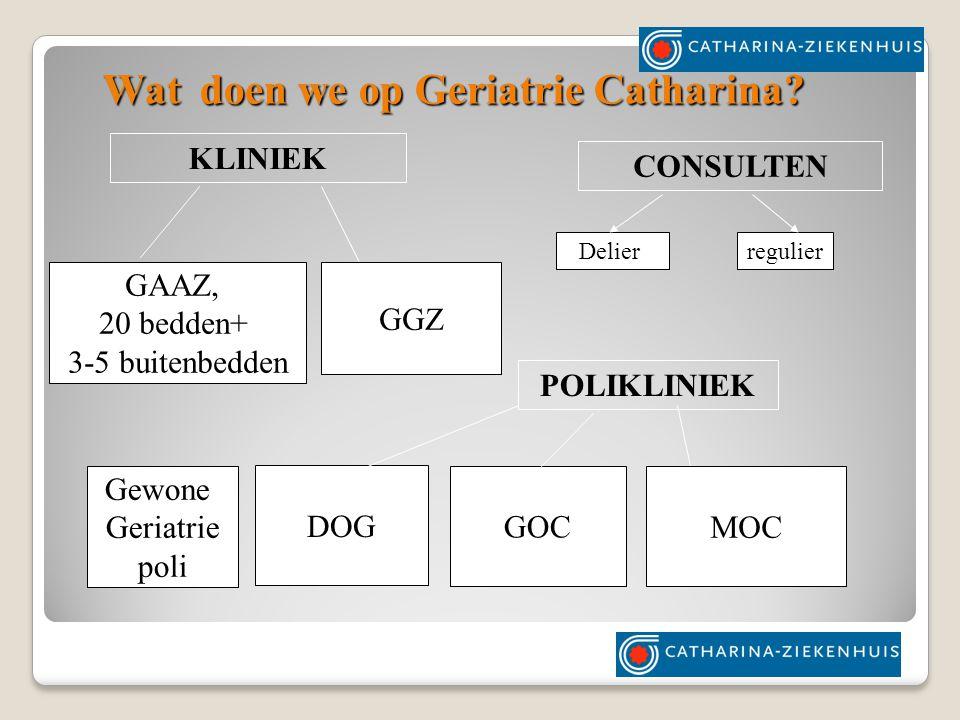 GAAZ, 20 bedden+ 3-5 buitenbedden POLIKLINIEK GOC MOC KLINIEK CONSULTEN Wat doen we op Geriatrie Catharina.